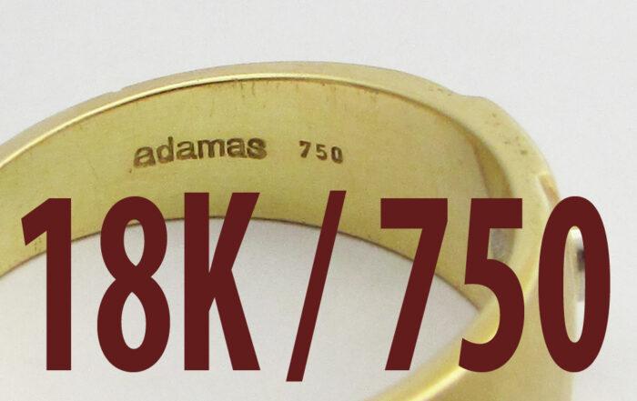 Stamp for 18 Karat 750 and adamas trademark
