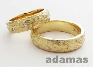 Un paio di Fedi matrimoniali oro giallo con brillanti