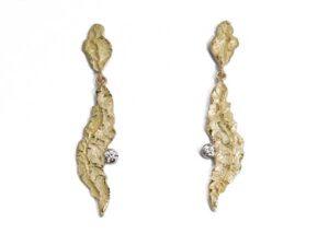 Orecchini pendenti con brillanti oro giallo e bianco 18 karati