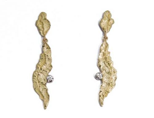 Orecchini pendenti con brillanti oro 18 karati